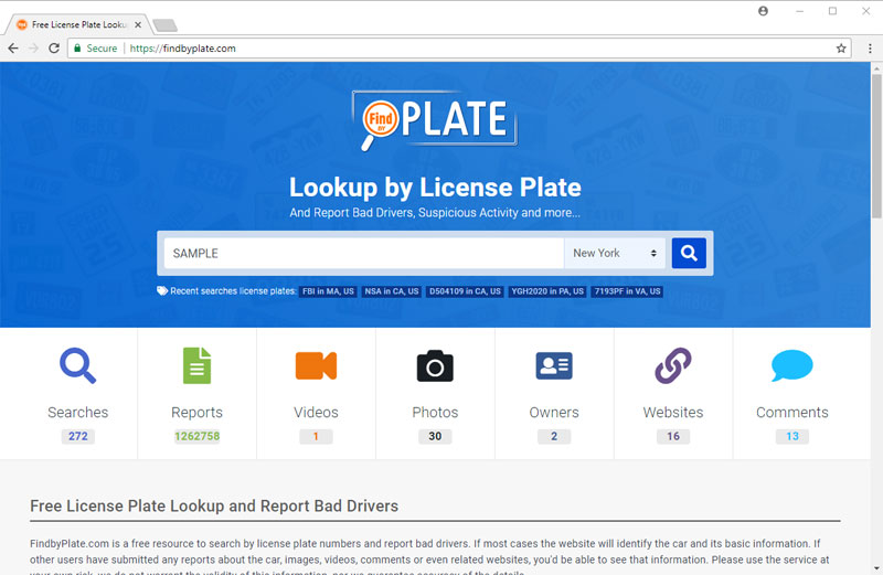 Type in the License Plate Number and Select State